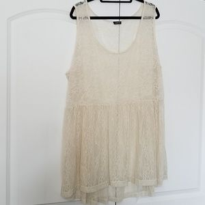 Sheer lace baby doll tank
